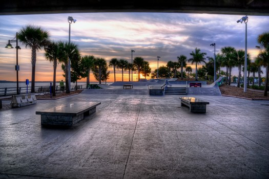 Bradenton Riverwalk board park at sunrise. Sunrise is the only time I've seen this place deserted. This park attracts crowds from all over and quite frankly I've never stepped foot on it. But since there was no one here I took the opportunity to take a few photos. Sure enough, before I was done the first boarder showed up; and then another and another.