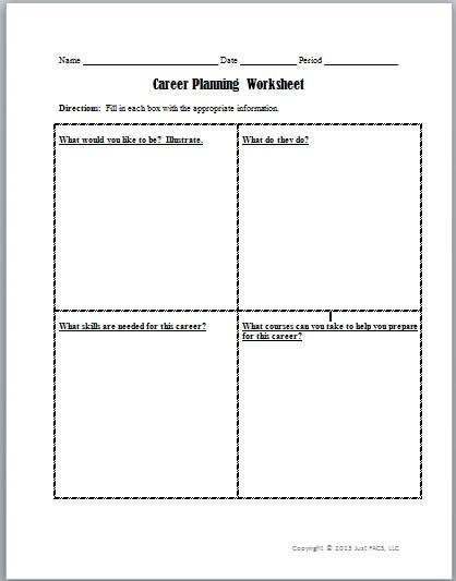 Career Planning Worksheet   Just FACS