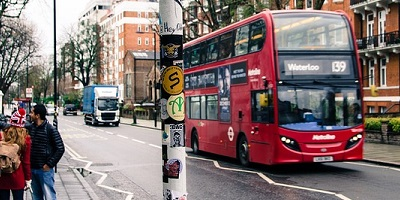 London red bus in street
