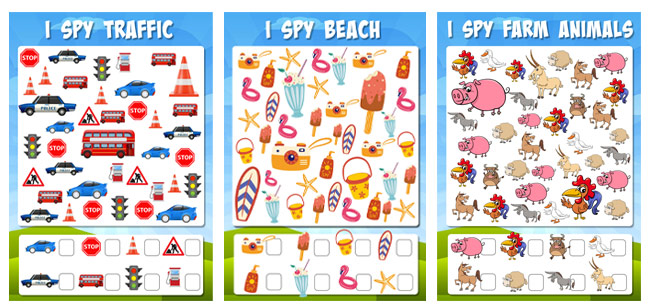 Things to do on a Car Journey i spy activity sheets