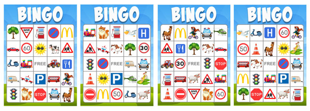Things to do on a Car Journey bingo game