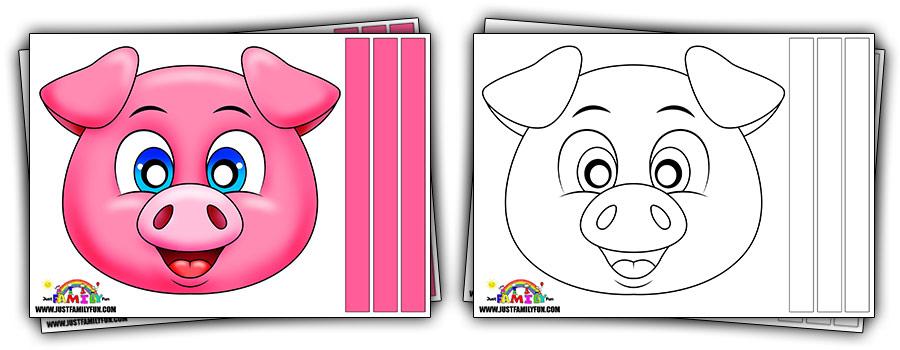 Printable Cute Pig Mask Templates