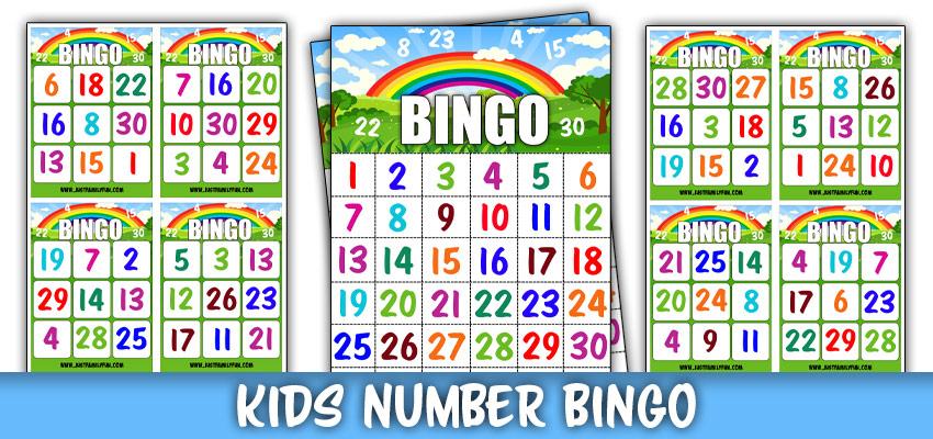 Kids Number Bingo Game Cards