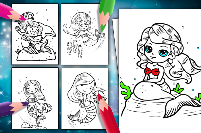 Mermaid Colouring Pages