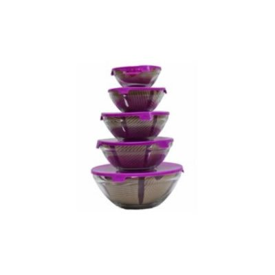 microwave heat 5 pieces resistant glass dish set with lid