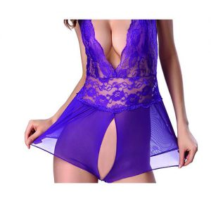 Women Sexy See Through Lace purple 2