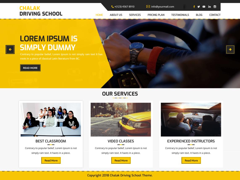 Download Free Chalak Driving School Wordpress Theme