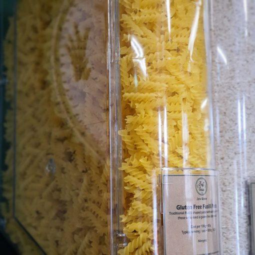 Gluten Free Fusilli Pasta display in the Just Gaia zero waste grocery in Halifax, West Yorkshire