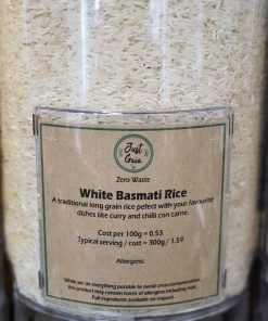 Long Grain Rice (white basmati) in the Just Gaia zero waste grocery in Halifax, West Yorkshire