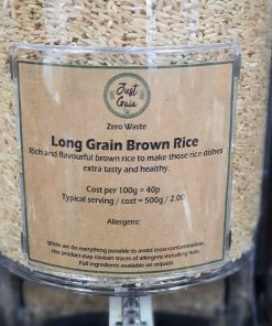 Long Grain Rice (brown) in the Just Gaia zero waste grocery in Halifax, West Yorkshire