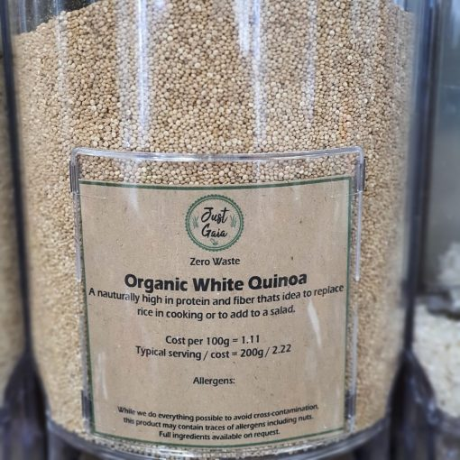 Organic quinoa in the Just Gaia zero waste grocery in Halifax, West Yorkshire