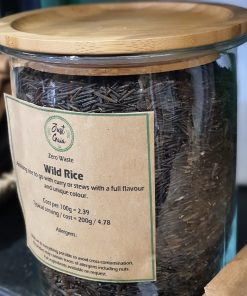 WIld Rice display in the Just Gaia zero waste grocery in Halifax, West Yorkshire