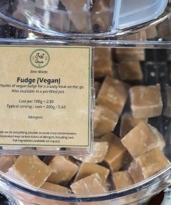 Vegan fudge in the plastic free snacks and treats section Just Gaia zero waste grocery in Halifax, West Yorkshire