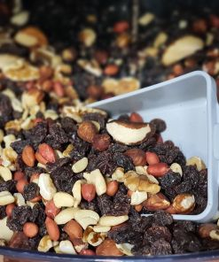 Fruit and nut mix scoop in the plastic free snacks and treats section Just Gaia zero waste grocery in Halifax, West Yorkshire