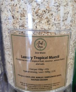 Tropical muesli dispenser in the plastic free snacks and treats section Just Gaia zero waste grocery in Halifax, West Yorkshire