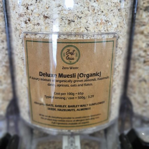 Organic deluxe muesli dispenser in the plastic free snacks and treats section Just Gaia zero waste grocery in Halifax, West Yorkshire