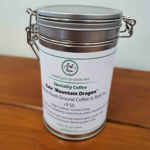 """Chinese speciality coffee """"Mountain Dragon"""" on display at Just Gaia Halifax, in a cliplock tin for plastic free packaging and home storage."""