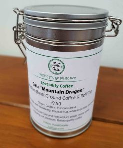 "Chinese speciality coffee ""Mountain Dragon"" on display at Just Gaia Halifax, in a cliplock tin for plastic free packaging and home storage."