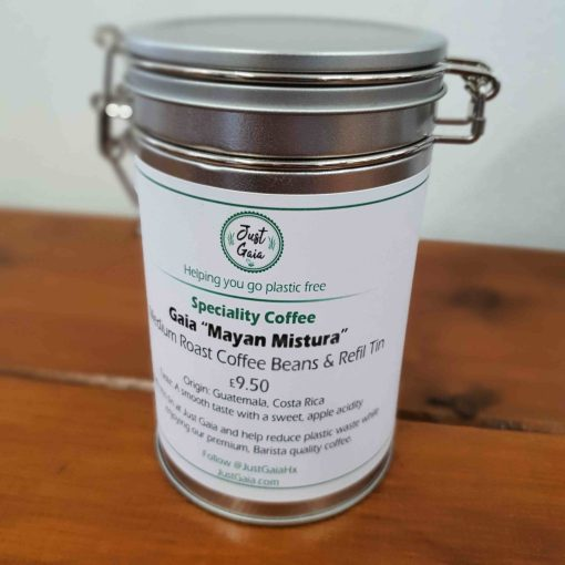 "South American speciality coffee ""Mayan Mistura"" on display at Just Gaia Halifax, in a cliplock tin for plastic free packaging and home storage."