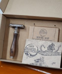 Plastic free safety razor shaving kit items in the box at Just Gaia, Halifax UK