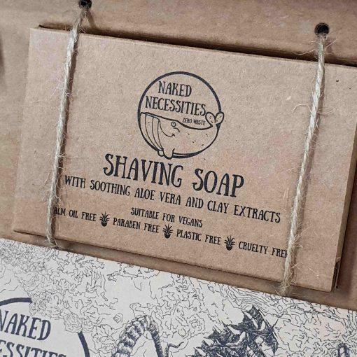 Plastic free safety razor shaving kit: shaving soap in the box at Just Gaia, Halifax UK