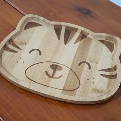 Bamboo children's plates (Tiger shape) on display in Just Gaia Halifax.
