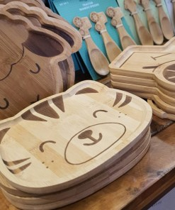 Bamboo children's plates collection on display in Just Gaia Halifax.