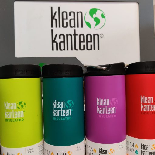 Klean Kanteen 16oz large insulated coffee cup in Klean Kanteen display at Just Gaia