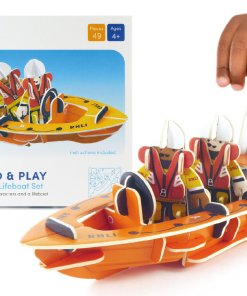 Plastic Free RNLI Lifeboat playset example setup from Playpress available at Just Gaia Halifax UK