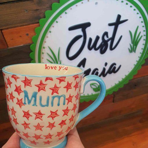 Star Mum Mug at Just Gaia for plastic free gift ideas
