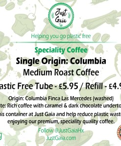 Single Origin Columbian Speciality Coffee tube label with information at Just Gaia
