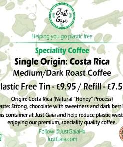 Single Origin Costa Rica Speciality Coffee label from Just Gaia