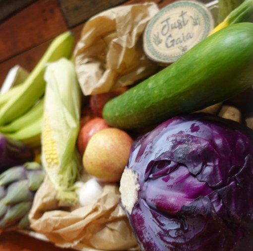 Organic Fruit and Veg box example on display in Just Gaia Halifax including options for Vegetable box, fruit and veg combo box and fruit selection