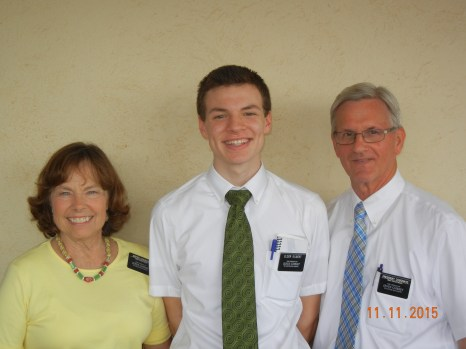 Elder Gilbert with mission President and sister Cosgrave