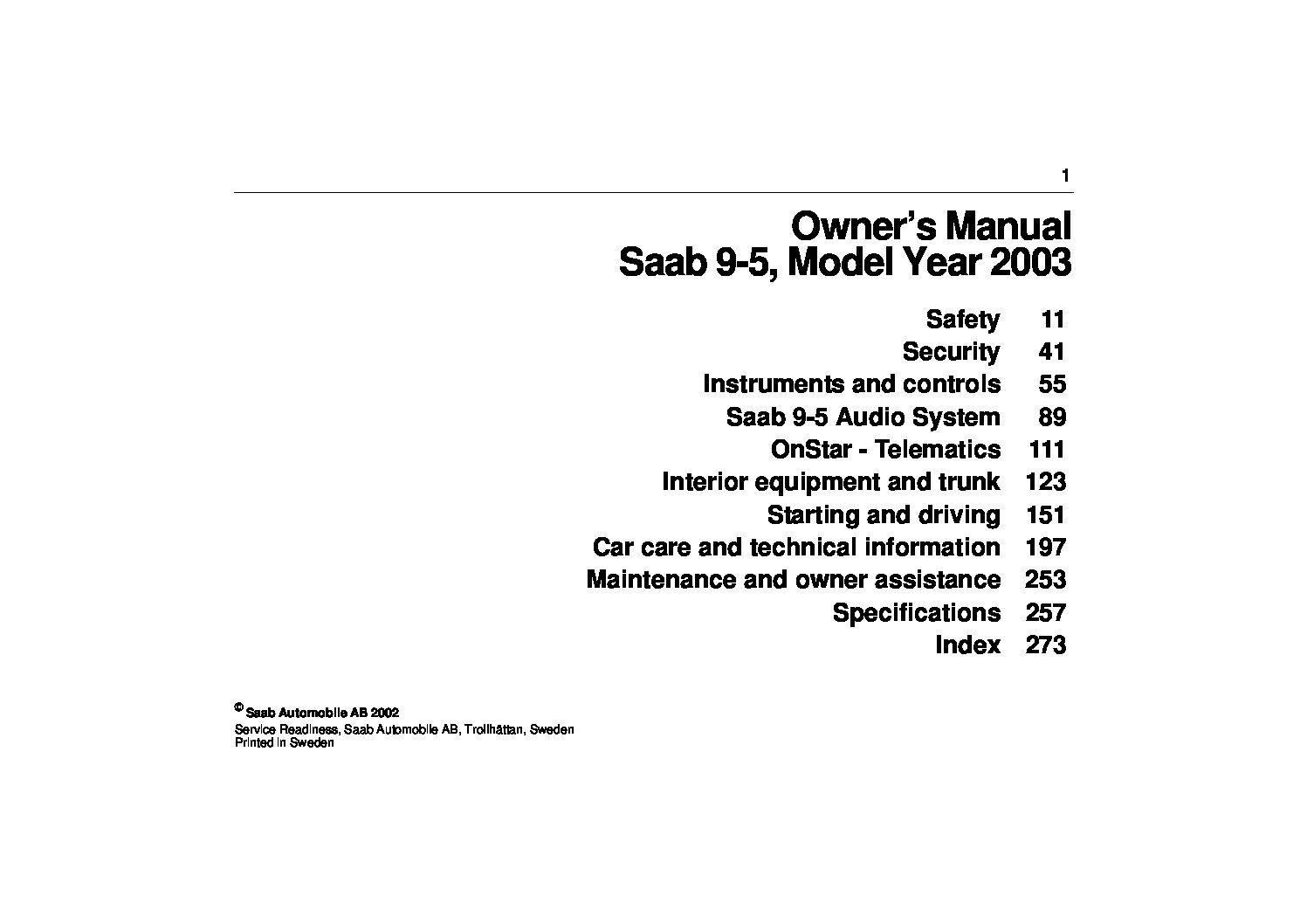 Saab 9 5 Owners Manual