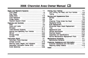2006 chevrolet aveo Owners Manual | Just Give Me The Damn