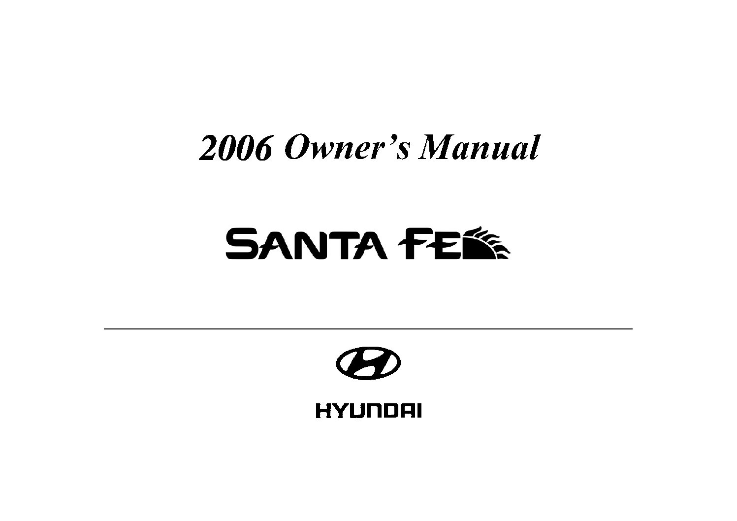 Hyundai Santa Fe Owners Manual