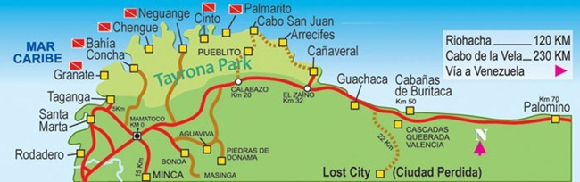Tayrona National Park map camping entrance hiking Colombia