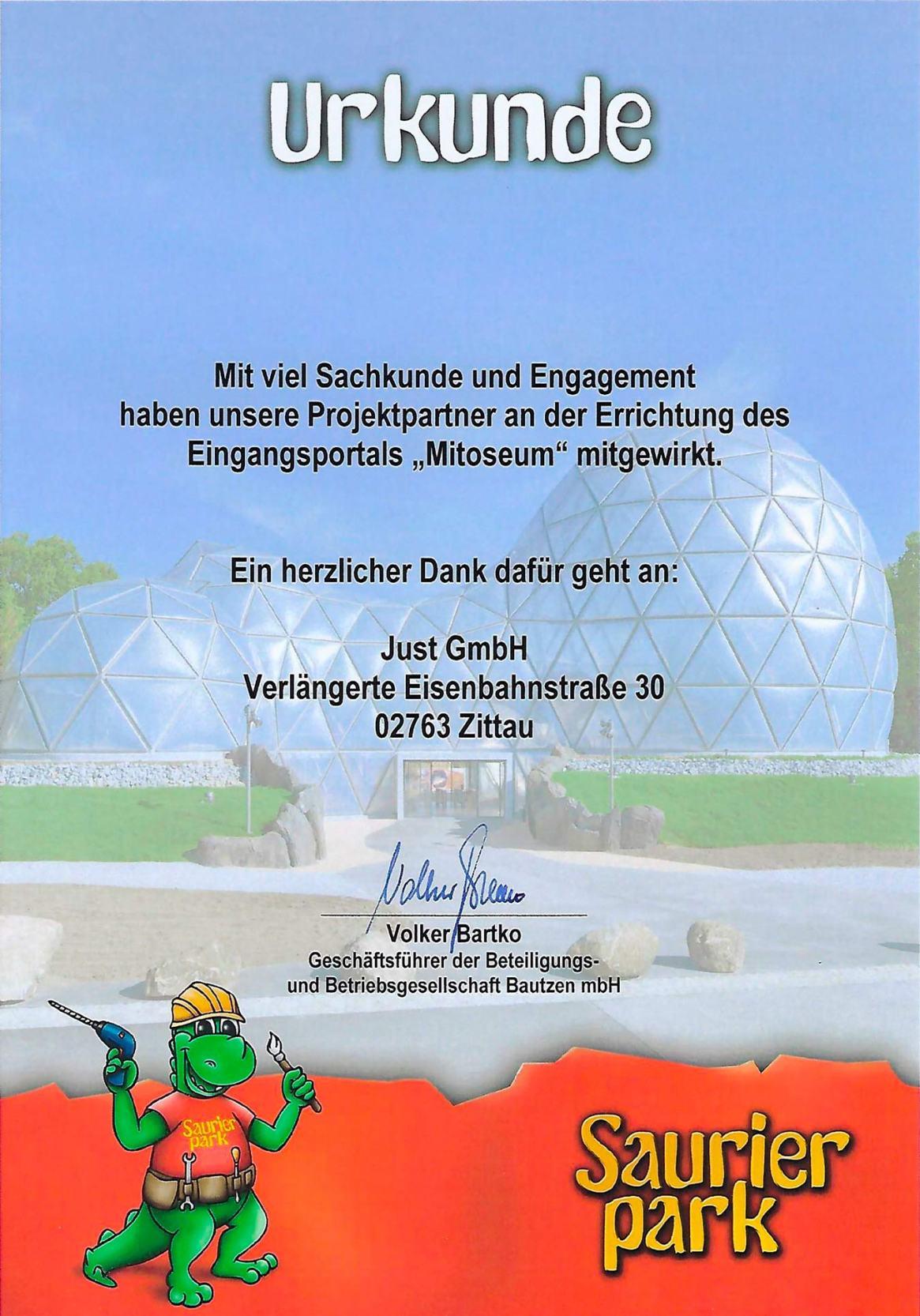 Urkunde-Saurierpark-Just-GmbH