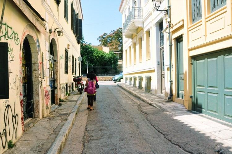 walking from Monastiraki to Acropolis