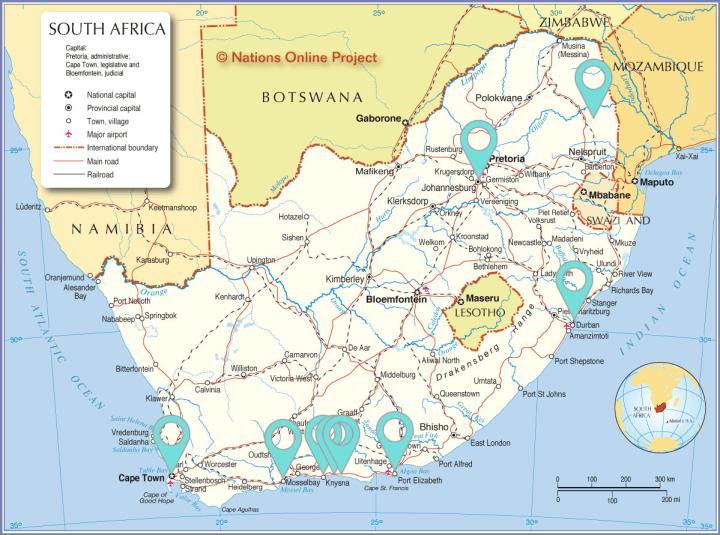 Zuid Afrika rondreis route