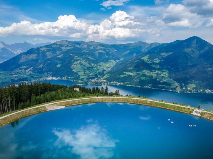 Dronefoto vanaf Smittenhohe Zell am See in Oostenrijk