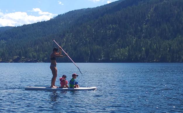 Paddle boarding at Christina Lake.