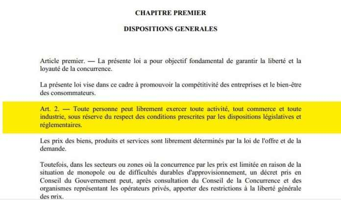 Toute personne peut exercer toute activité, tout commerce d'après l'article 2 du code de concurrence à Madagascar