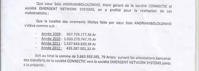 RANARISON Tsilavo NEXTHOPE dépose une plainte avec demande d'arrestation accusant Solo d'avoir bénéficié des virements sans contrepartie de 1.047.060 euros