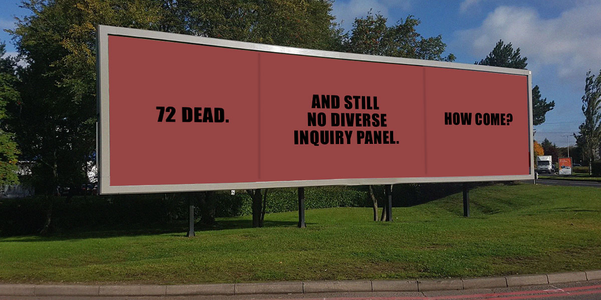 72 dead, no diverse Inquiry panel. How come?
