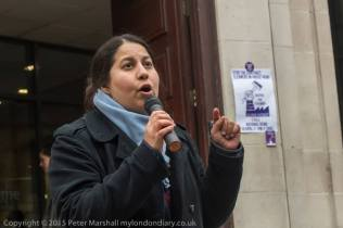 Sanaz speaking at the National Demo-Bring Cleaners In-House at SOAS, University of London, 18th April 2016. Photo by Peter Marshall.