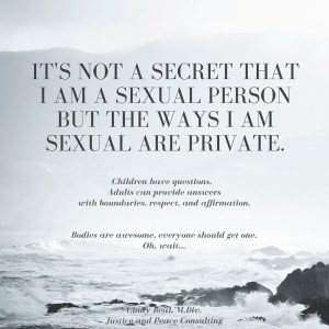 """a picture of mountains at a great height and the words """"It's not a secret that I am a sexual person but the ways I am sexual are private. Children have questions. Adults can provide answers with boundaries, respect, and affirmation. Bodies are awesome, everyone should get one. Oh, wait.... Cindy Beal, M. Div. Justice and Peace Consulting"""