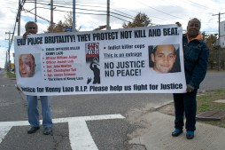 Protesters gather outside the Suffolk County 3rd Precinct to demand justice for all Long Island Stolen Lives (killed by law enforcement) Annual Anti-Police Brutality March in Long Island, NY, Bay Shore, April 13th, 2013.