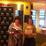 Justina Hart Writer Reading at Waterstones, Birmingham 2016 with Carol Caffrey